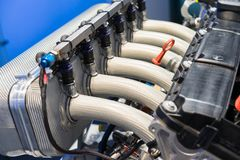 close-up van een BMW-motor stock foto