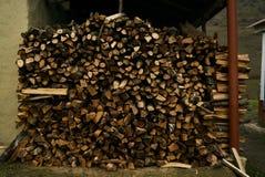 Close-up van een brandhoutstapel stock foto