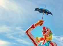 Close-up van een Carnaval clownstandbeeld Stock Fotografie