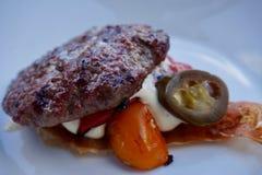 Close-up van een gastronomische schuif en bovenste laagjes zonder brood royalty-vrije stock afbeeldingen