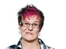 Close-up van een geïrriteerdet vrouw die een gezicht maakt stock fotografie