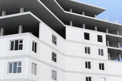 Close-up van een gebouw in aanbouw 3d geef image Stock Afbeeldingen