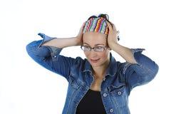 Close-up van een gelukkige verraste jonge vrouw Royalty-vrije Stock Fotografie