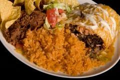 Close-up van een gesmoorde burrito Stock Foto's