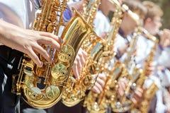 Close-up van een groep saxofonisten royalty-vrije stock foto
