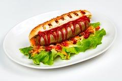 Close-up van een hotdog wordt geschoten die royalty-vrije stock foto