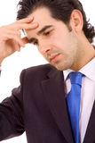 Close-up van een Jonge bedrijfsmens met een hoofdpijn Royalty-vrije Stock Afbeelding