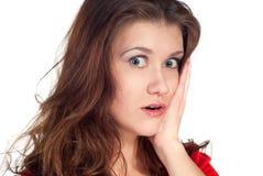 Close-up van een jonge vrouw die geschokt kijkt Royalty-vrije Stock Foto's
