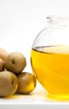 Close-up van een kleine fles olijfolie Royalty-vrije Stock Fotografie