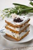 Close-up van een kop van koffie en gebakje Royalty-vrije Stock Foto's