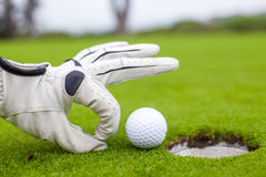 Close-up van een man hand die golfbal in gat zet Stock Fotografie