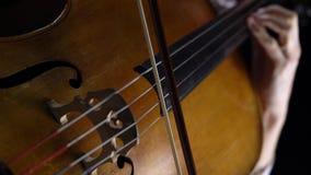 Close-up van een meisje die de cello spelen stock video
