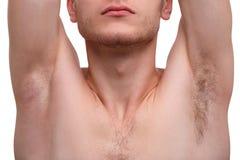 Close-up van een mens die die een oksel tonen op een witte achtergrond wordt geïsoleerd stock fotografie