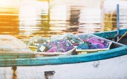 Close-up van een oude houten vissersboot stock foto's
