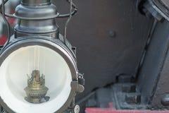 Close-up van een oude stoomlocomotief Stock Foto