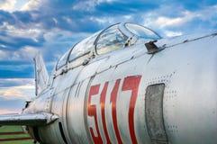 Close-up van een Russisch vechtersvliegtuig ter plaatse Stock Afbeelding