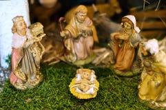 Close-up van een Scène van de Geboorte van Christus Royalty-vrije Stock Foto