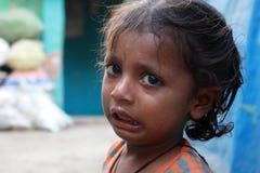 Close-up van een slecht kind die van New Delhi, India schreeuwen Royalty-vrije Stock Fotografie