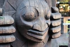 Close-up van een totempaal in Seattle, Washington royalty-vrije stock fotografie