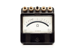 Close-up van een uitstekende oude ohmmeter Stock Foto