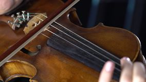Close-up van een vioolvingertechniek de koorden en de boog Zwarte achtergrond stock footage