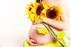 Close-up van een zwangere vrouw Royalty-vrije Stock Afbeeldingen