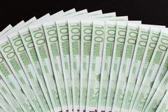 Close-up van 100 Euro bankbiljetten Stock Afbeeldingen