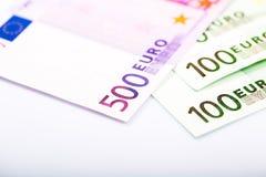 Close-up van euro bankbiljetten Royalty-vrije Stock Afbeeldingen