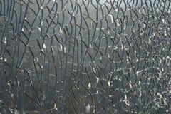 Close-up van gebroken zwart-witte glastextuur Stock Afbeeldingen