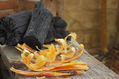 De houten stapel van de brand Stock Fotografie