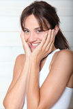 Close-up van gelukkige vrouw Royalty-vrije Stock Afbeeldingen
