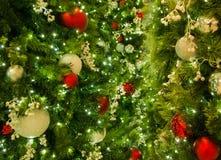 Close-up van Gemengde Kerstmisornamenten op Boom met Lichten in Kader stock foto