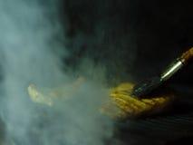 Close-up van geroosterde rokerige kip op B-B-Q Gebraden vlees en een olieborstel op een zwarte netachtergrond De ruimte van het e Stock Foto's
