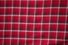 Close-up van geruit Schots wollen stofstof. Royalty-vrije Stock Afbeeldingen