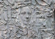 Close-up van gezicht, Vrijheidsbeeldhouwwerk, door Zenos Frudakis, Philadelphia Stock Foto's