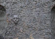 Close-up van gezichten, Vrijheidsbeeldhouwwerk, door Zenos Frudakis, Philadelphia Stock Foto