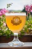 Close-up van glas Elzassisch bier van Grimbergen-merk bij restaurantterras stock afbeelding