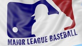 Close-up van golvende vlag met het embleem van Major League Baseball MLB, naadloze lijn, blauwe achtergrond Redactieanimatie 4K stock video