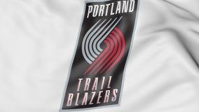 Close-up van golvende vlag met van de Sleepblazers NBA van Portland het embleem van het het basketbalteam, het 3D teruggeven royalty-vrije illustratie