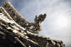 Close-up van gravures op het dak van de pagode, dag, Shanxi-Provincie, China Royalty-vrije Stock Foto's