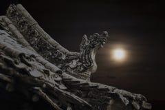 Close-up van gravures op het dak van de pagode, nacht, Shanxi-Provincie, China Stock Foto's