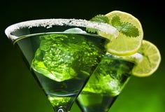 De Groene Cocktails van de munt Stock Afbeelding