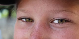 Close-up van groene ogen en freckled neus van een jong glimlachend meisje royalty-vrije stock afbeelding