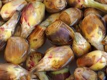 Close-up van groenten in het zuurartisjokken bij een voedselmarkt royalty-vrije stock afbeeldingen