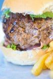 Close-up van hamburger en gebraden gerechtencombinatie Stock Foto's