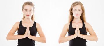 Close-up van handen van mooie vrouwencollage, meisje in t-shirt, die nadruk op wapens in Namaste-gebaarreeks binnen mediteren stock afbeeldingen