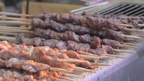 Close-up van het braden stukken van vlees in de grill op houten stokken Aziatische keuken stock videobeelden