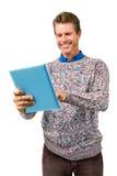 Close-up van het glimlachen van het boek van de mensenlezing Stock Afbeelding