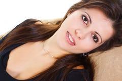 Close-up van het jonge schoonheid glimlachen Stock Foto