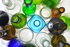 Close-up van het recycling van glas stock foto's